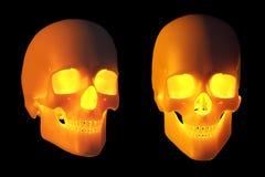 Cráneos de Halloween que brillan intensamente Foto de archivo libre de regalías