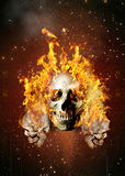 Cráneos del cartel en fuego Imagen de archivo