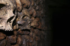 Cráneos en el Catecombs Imagen de archivo