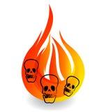 Cráneos en logotipo del icono de la llama del fuego Foto de archivo libre de regalías