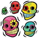Cráneos festivos mexicanos Imagen de archivo libre de regalías