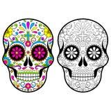 Cráneos mexicanos del azúcar, día del ejemplo muerto en el fondo blanco ilustración del vector