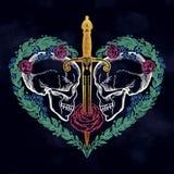 Cráneos románticos hermosos con la espada libre illustration
