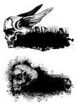 Cráneos y emblemas stock de ilustración