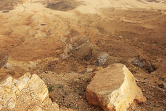 Cráter del desierto del Néguev y de Ramón Fotografía de archivo