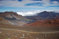 Cráter del volcán de Haleakala Foto de archivo libre de regalías