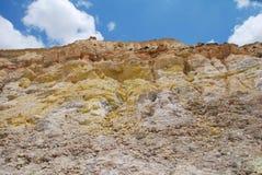 Cráter del volcán, Nisyros Fotos de archivo libres de regalías