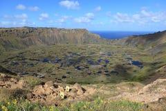 Cráter Rano Kau de la isla de pascua Fotografía de archivo