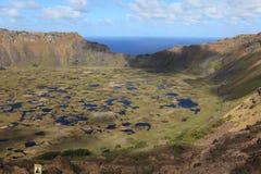 Cráter Rano Kau de la isla de pascua Imagen de archivo libre de regalías
