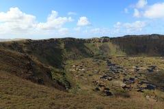 Cráter Rano Kau de la isla de pascua Foto de archivo