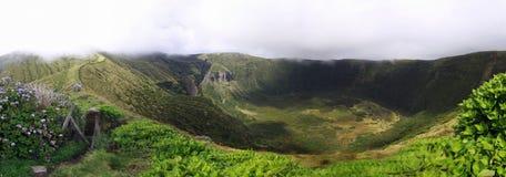 Cráter volcánico de Faial, Azores Foto de archivo