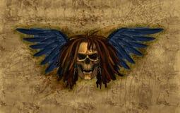 Crâne à ailes avec Dreadlocks sur la grunge Photographie stock libre de droits