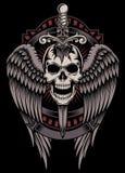 Crâne à ailes avec l'épée coincée illustration de vecteur