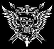 Crâne à ailes avec l'épée et les flèches illustration libre de droits