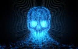 Crâne abstrait des particules légères sur le fond foncé Illustration de vecteur Image libre de droits