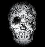Crâne abstrait tiré par la main fait à partir des arbres et du feuillage illustration de vecteur