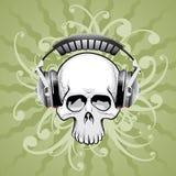 Crâne avec des écouteurs illustration libre de droits