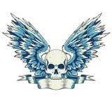 Crâne avec des ailes Photo stock