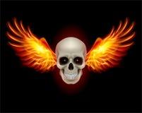 Crâne avec des ailes d'incendie Photo stock