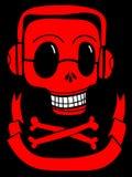 Crâne avec des lunettes de soleil et des écouteurs Image stock