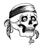 Crâne avec des plumes Illustration de vecteur Images stock