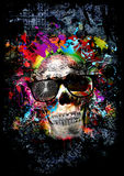Crâne avec des verres, art illustration stock