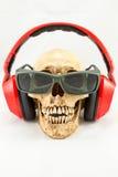 Crâne avec l'écouteur et les lunettes de soleil rouges sur le fond blanc Photo libre de droits