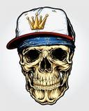 Crâne avec la bandanna et le chapeau Image libre de droits