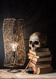 Crâne avec la lampe Photographie stock