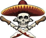 Crâne avec la machette Photos stock