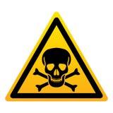 Crâne avec le signe jaune de triangle d'os Symbole de danger illustration de vecteur