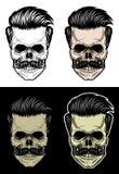 Crâne avec les cheveux et la moustache Photo libre de droits