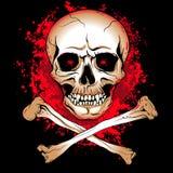 Crâne avec les taches de sang rougeoyantes de yeux et d'os Photos stock
