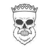 Crâne barbu avec l'élément de conception de couronne Roi mort Photos stock