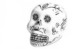 Crâne blanc sur le fond blanc photos stock