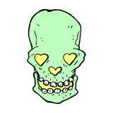 crâne comique de bande dessinée avec des yeux de coeur d'amour Photos stock