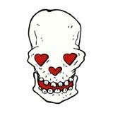crâne comique de bande dessinée avec des yeux de coeur d'amour Image stock