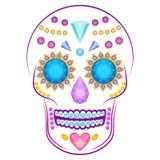 Crâne décoré des pierres précieuses colorées et illustration de vecteur