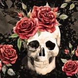 Crâne d'aquarelle et modèle de roses illustration de vecteur