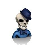 Crâne d'avatar avec le chapeau et le papillon Images libres de droits