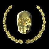 Crâne d'or entouré avec des feuilles de laurier de goldel d'isolement sur le rendu noir de fond Photographie stock