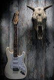 Crâne d'un taureau avec des klaxons et une guitare électrique sur un vintage W Photos libres de droits