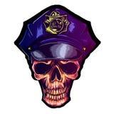 Crâne dans l'uniforme de police du chapeau ENV 10 de police photos libres de droits