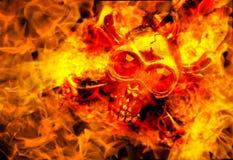 crâne dans la fin du feu  Image de concept de Halloween image libre de droits