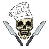 Crâne dans la toque avec des couteaux Crâne de bande dessinée Photo stock