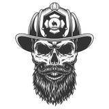 Crâne dans le chapeau de pompier illustration libre de droits