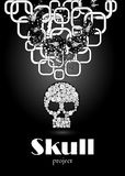 Crâne dans le style floral votre conception de l'avant-projet Image stock