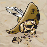 Crâne dans un chapeau avec une plume blanche photographie stock