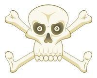 Crâne de bande dessinée avec des os Image stock