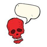 crâne de bande dessinée avec la bulle de la parole Photo stock